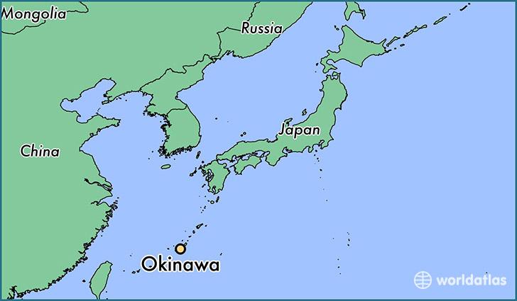Mapa de Japón .  Ubicación de Okinawa